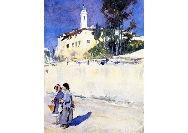 Landscape with Two Children, Greeting Card by John Singer Sargent - Thumbnail