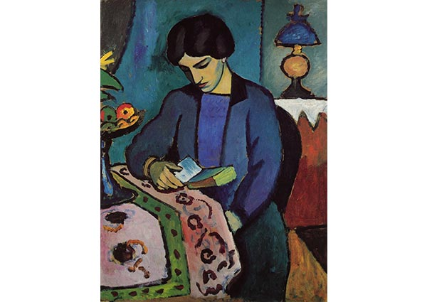 Blue Girl Reading, Greeting Card by August Macke - Thumbnail