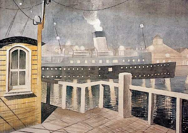 Channel Steamer Leaving Harbour, Greeting Card by Eric Ravilious - Thumbnail
