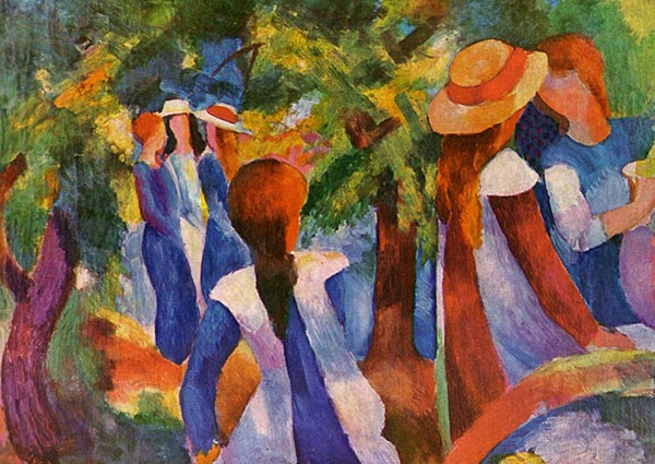 Girls Under Trees, Greeting Card by August Macke - Thumbnail