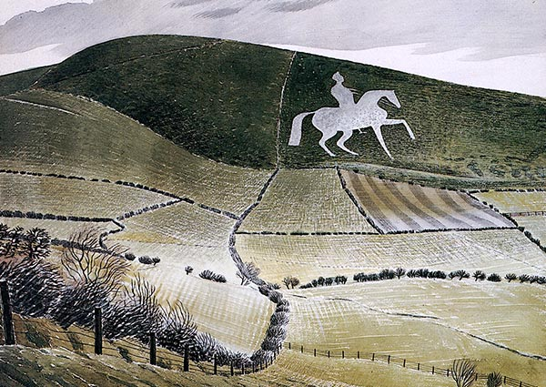 Chalk Figure Near Weymouth, Greeting Card by Eric Ravilious - Thumbnail