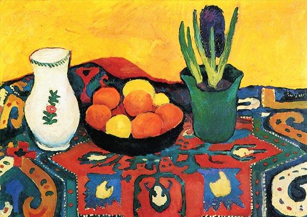 Still Life, Hyacinths, Carpet, Greeting Card by August Macke - Thumbnail