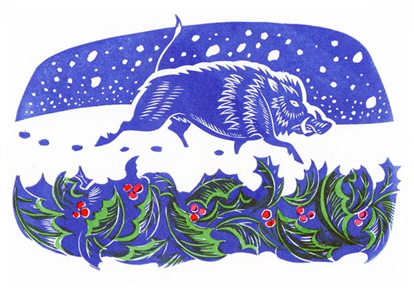 Christmas Boar, Greeting Card by Jeremy James - Thumbnail