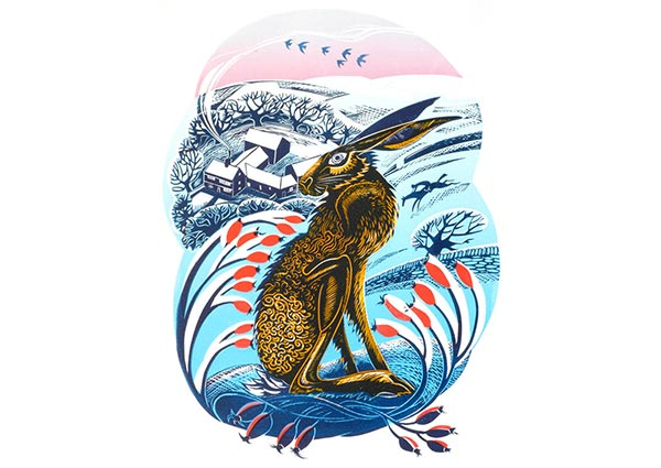 Peak District Hare (lino print), Greeting Card by Jeremy James - Thumbnail