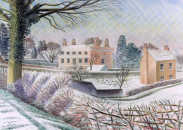 Vicarage in Winter, Greeting Card by Eric Ravilious - Thumbnail