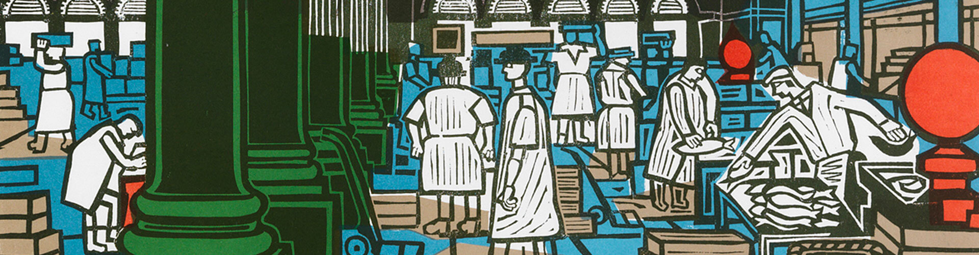 Billingsgate Market, Greeting Card by Edward Bawden - Featured on Desktop Devices