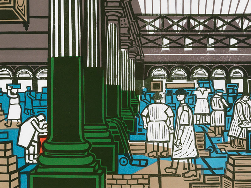 Billingsgate Market, Greeting Card by Edward Bawden - Featured on Mobile Devices