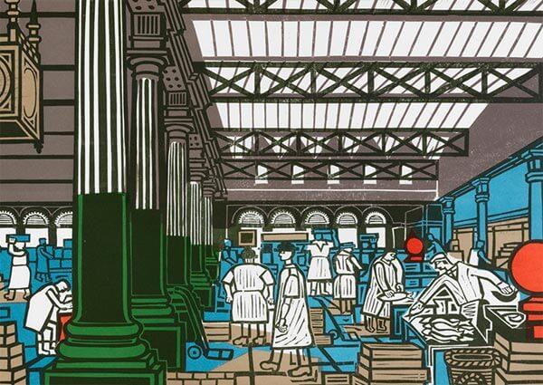 Billingsgate Market, Greeting Card by Edward Bawden - Thumbnail