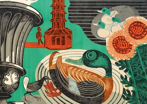 Duck and Pagoda, Kew Gardens (Detail), Greeting Card by Edward Bawden - Thumbnail