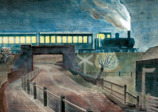 Train Going Over a Bridge at Night, Greeting Card by Eric Ravilious - Thumbnail