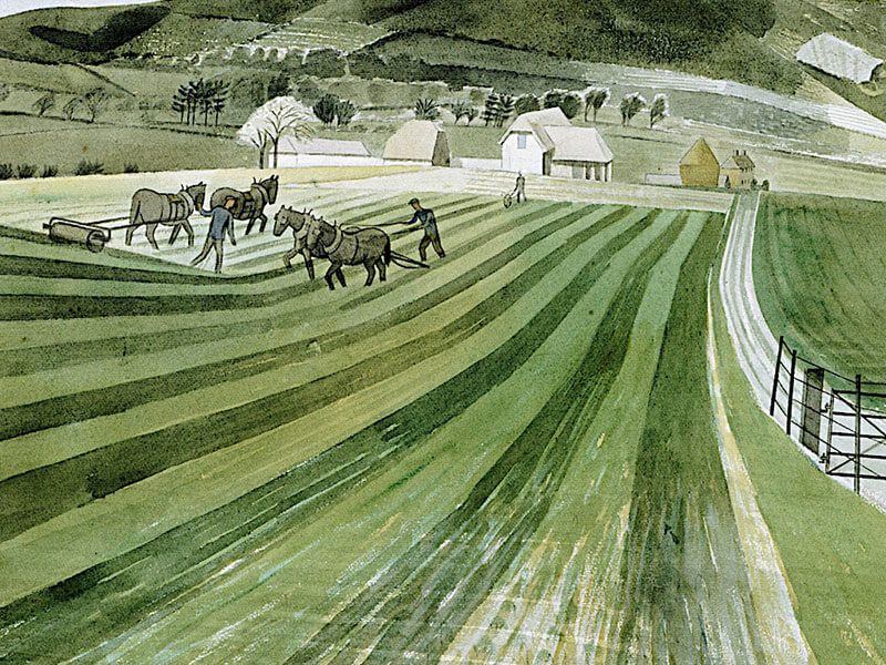 Mount Caburn, Greeting Card by Eric Ravilious - Featured on Mobile Devices