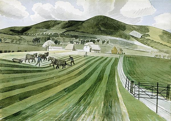 Mount Caburn, Greeting Card by Eric Ravilious - Thumbnail