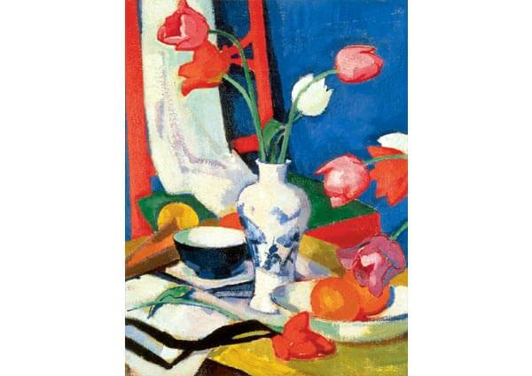Red Chair and Tulips, Greeting Card by Samuel John Peploe - Thumbnail