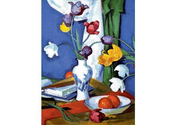 Tulips and Fruit, Greeting Card by Samuel John Peploe - Thumbnail