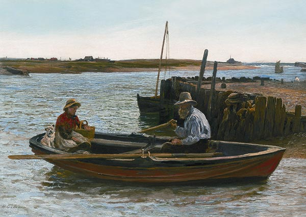 Walberswick Ferry, Suffolk, Greeting Card by Henry Garland - Thumbnail