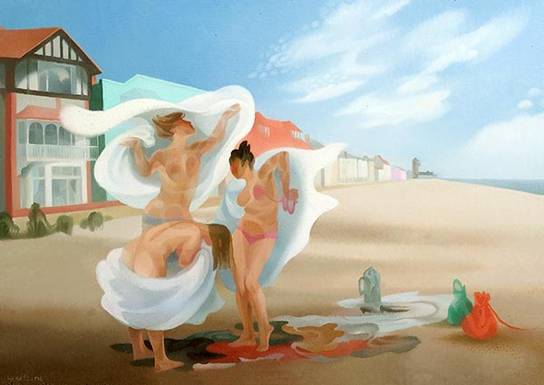 Changing on Aldeburgh Beach, Greeting Card by Julia Heseltine - Thumbnail