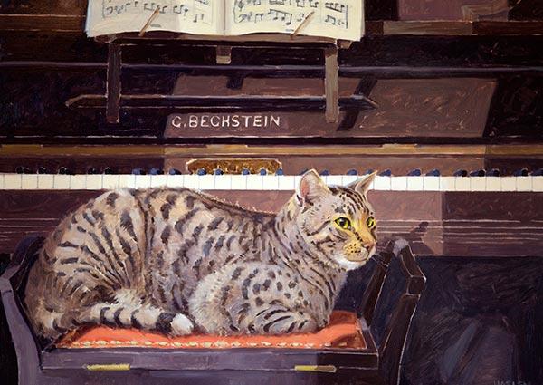 Tigger at the Piano, Greeting Card by Andrew Haslen - Thumbnail