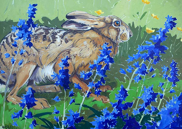 Hare and Bluebells, Greeting Card by Andrew Haslen - Thumbnail