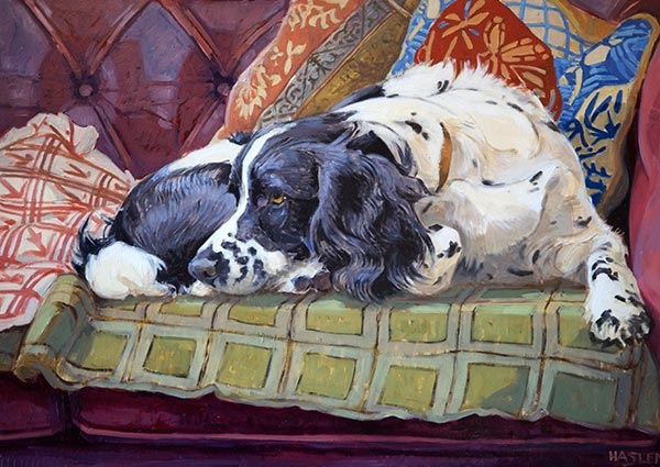 Holly on the Sofa, Greeting Card by Andrew Haslen - Thumbnail