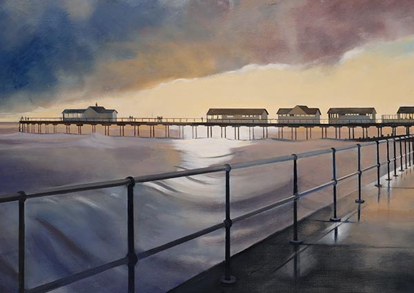 Storm, Southwold, Greeting Card by Katherine Hamilton - Thumbnail
