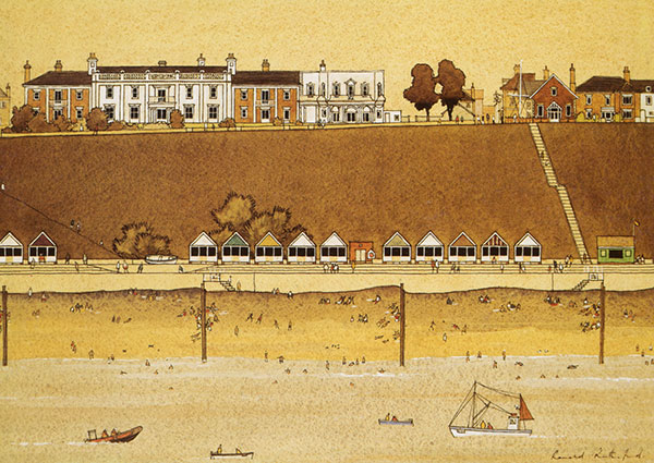 Centre Cliff, Southwold, Greeting Card by Ronald Rutherford - Thumbnail