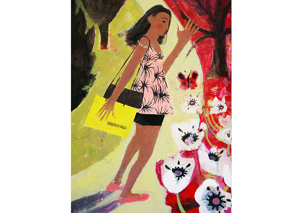 Shopping in a Pink Dress, Greeting Card by Arabella Shand - Thumbnail