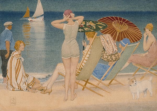Parasols, Southwold, Greeting Card by Joseph Southall - Thumbnail