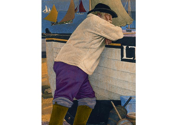The Old Fisherman, Southwold, Greeting Card by Joseph Southall - Thumbnail