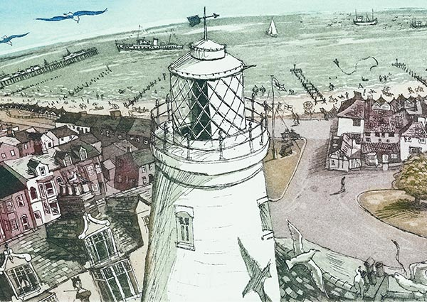 Southwold Lighthouse (detail), Greeting Card by Glynn Thomas - Thumbnail