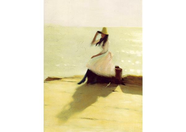 Young Woman on Walberswick Pier, Greeting Card by Philip Wilson Steer - Thumbnail