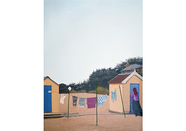 Bathing Huts, Southwold, Greeting Card by Margaret Green - Thumbnail