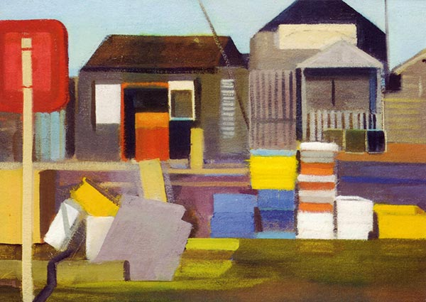 Harbour Pallets and Huts, Southwold, Greeting Card by Katherine Hamilton - Thumbnail