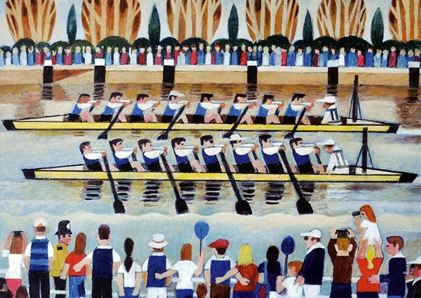 The Boat Race, Oxford and Cambridge, Greeting Card by Alfred Daniels - Thumbnail