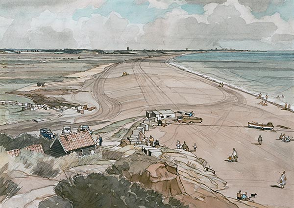 Walberswick and Southwold from Dunwich, Greeting Card by Frederick W. Baldwin - Thumbnail