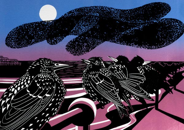 Brighton Starlings (lino print), Greeting Card by Jeremy James - Thumbnail