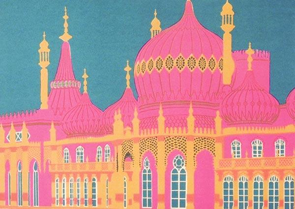 Royal Pavilion, Brighton (screen print), Greeting Card by Geoffrey Elliott - Thumbnail