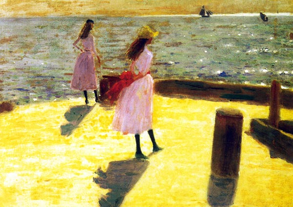 Two Girls on a Pierhead, Walberswick, Greeting Card by Philip Wilson Steer - Thumbnail