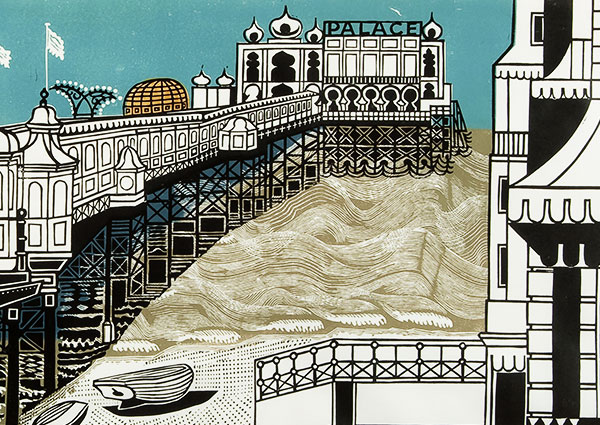 Brighton Pier (linocut on paper), Greeting Card by Edward Bawden - Thumbnail