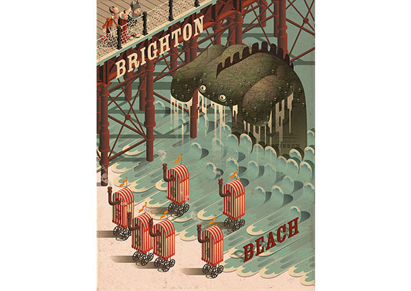 Brighton Beach Monster, Greeting Card by Mark Oliver - Thumbnail