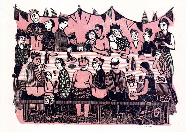 Festivity (linocut), Greeting Card by Elaine Nason - Thumbnail