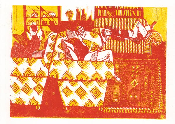 Interior with Three Sofas (linocut), Greeting Card by Elaine Nason - Thumbnail