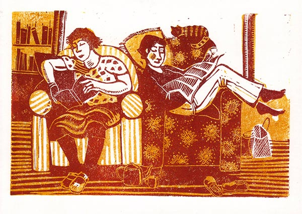 Two Readers (linocut), Greeting Card by Elaine Nason - Thumbnail